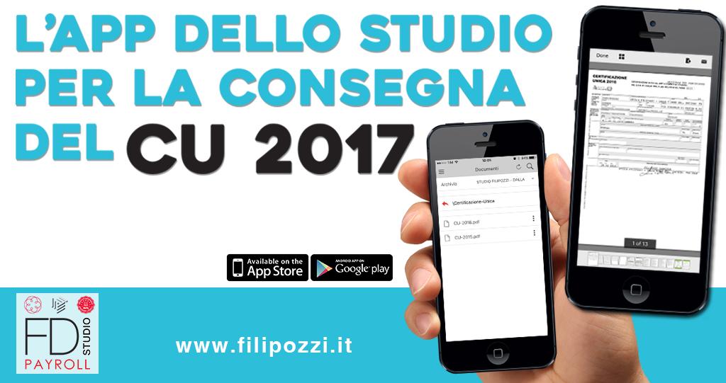 l app dello studio per la consegna delle cu 2017 redditi 2016